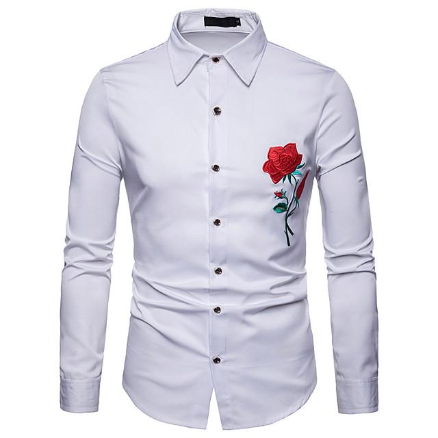 رجالي ورد لون سادة قميص مطرز كم طويل مناسب للبس اليومي نحيل قمم الأعمال التجارية أساسي أبيض أسود أزرق البحرية / عمل
