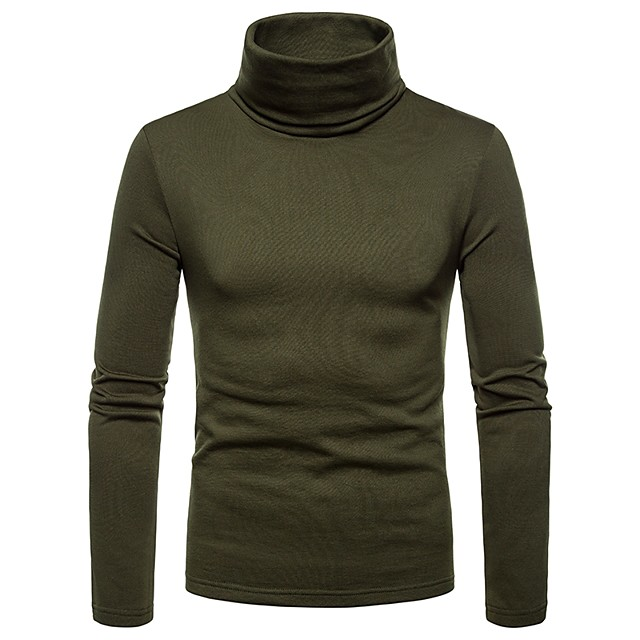 Men's Solid Colored T-shirt Long Sleeve Daily Tops Turtleneck Black Wine Army Green / Fall / Winter