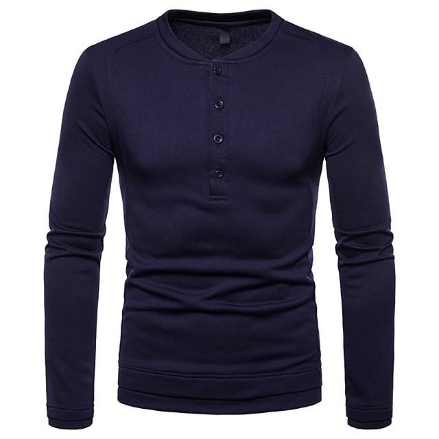 Homme T shirt Graphique Couleur Pleine Manches Longues Quotidien Hauts basique Noir Vin Gris Foncé