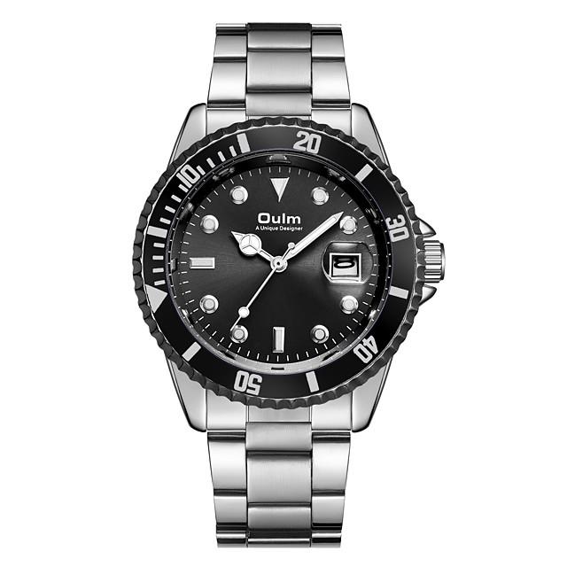 Oulm Hombre Reloj Militar Reloj de Pulsera Cuarzo Japonés Casual Calendario Analógico Negro Azul Verde / Un año / Acero Inoxidable / Esfera Grande / SSUO 377 / Steampunk