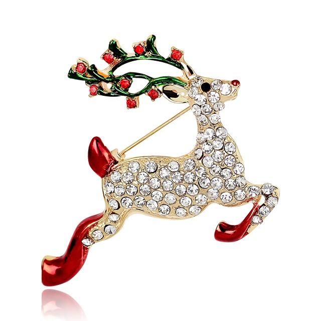نسائي دبابيس كلاسيكي 3D Elk حيوان سيدات كلاسيكي عتيق حجر الراين مطلية بالذهب بروش مجوهرات ذهبي من أجل عيد الميلاد مهرجان