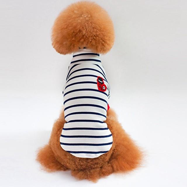 كلاب قطط T-skjorte ملابس الجرو مخطط أسلوب بسيط عارضة / رياضي ملابس الكلاب ملابس الجرو ملابس الكلب أبيض أزرق كوستيوم للفتاة والفتى الكلب قطن S M L XL XXL