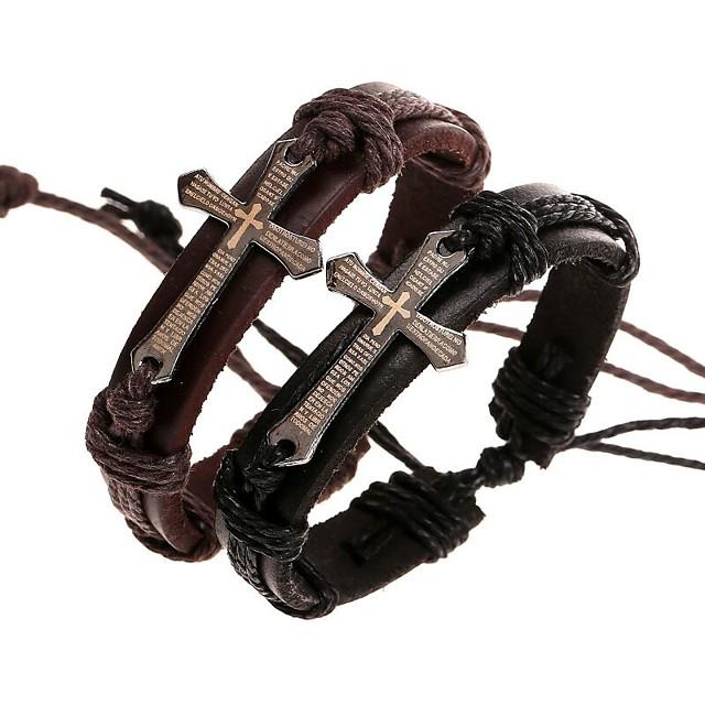 Bărbați Brățări Bangle Bratari Wrap Bratari din piele Împletit În cruce lateral Σταυρός Stilat Design Unic Paracord Bijuterii brățară Negru / Maro Pentru Zilnic Stradă / Handmade Link Bracelet
