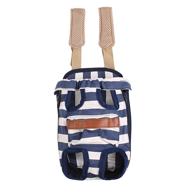 كلاب قطط الحاملة حقائب تحمل على الظهر وللسفر المحمول كاجوال / يومي مخطط قماش أحمر أزرق