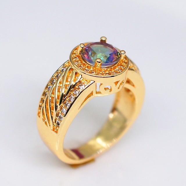 Ring Cubic Zirconia Stylish Gold Copper Rhinestone Creative Ladies Stylish Elegant 1pc 6 7 8 9 10 / Couple's / Engagement Ring