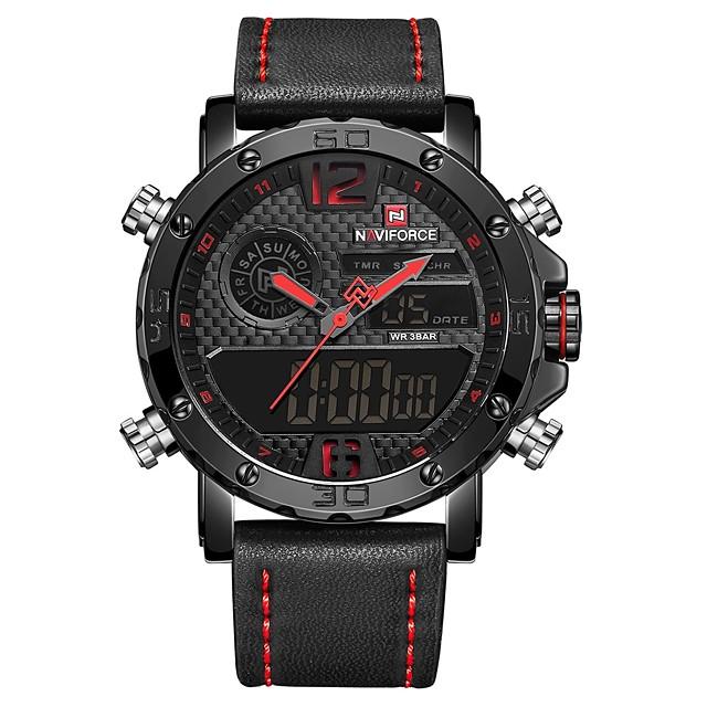 NAVIFORCE Hombre Reloj Deportivo Reloj de Pulsera Reloj Digital Cuarzo Japonés Casual Resistente al Agua Analógico-Digital Negro / Rojo Negro / Marrón / Cuero Auténtico / Calendario / Noctilucente