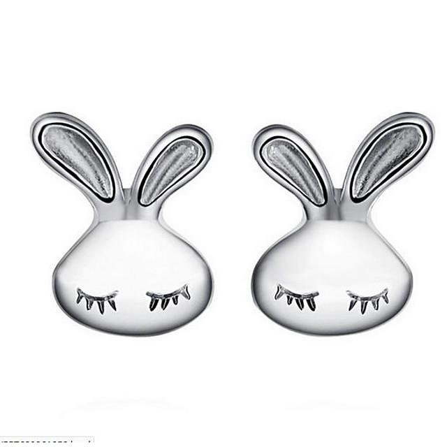 Femme Boucles d'oreille Clou 3D Rabbit dames simple Des boucles d'oreilles Bijoux Argent Pour Quotidien 1 paire