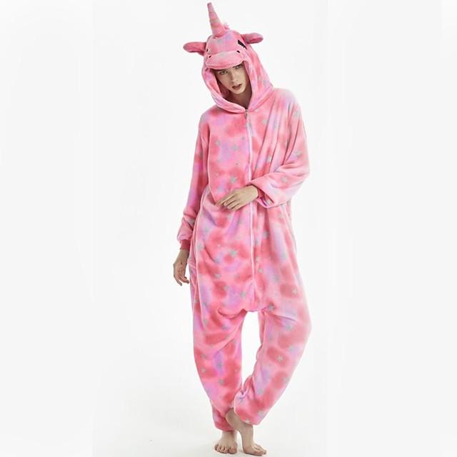 Adulte Pyjamas Kigurumi Licorne Poney Combinaison de Pyjamas Flanelle Rose Cosplay Pour Homme et Femme Pyjamas Animale Dessin animé Fête / Célébration Les costumes