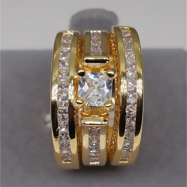 Inel de logodna Diamant Multistratificat Auriu Argintiu Articole de ceramică Ștras Coroane femei Stilat Lux 1set 6 7 8 9 10 / Pentru cupluri / Zirconiu Cubic / Solitaire