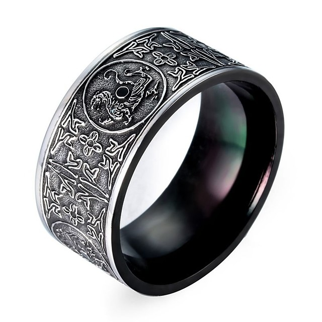 Ring Classic Silver Titanium Steel Tungsten Steel Totem Series Magic Punk Initial 1pc 8 9 10 11 / Men's
