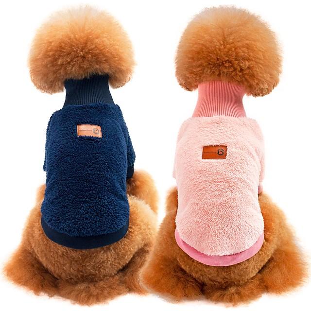 Собаки Коты Свитера Толстовка Одежда для щенков Однотонный Спорт и отдых На каждый день Зима Одежда для собак Одежда для щенков Одежда Для Собак Синий Розовый Хаки Костюм для девочки и мальчика-собаки