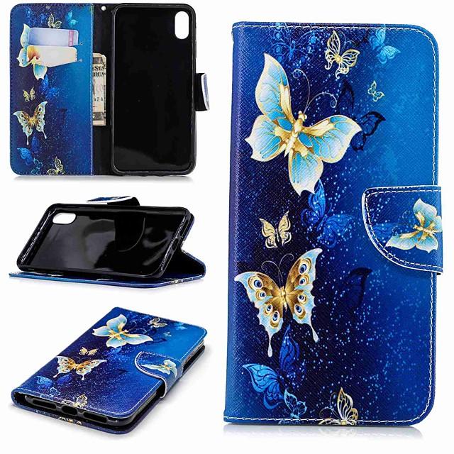 Coque Pour Apple iPhone XS / iPhone XR / iPhone XS Max Portefeuille / Porte Carte / Avec Support Coque Intégrale Papillon Dur faux cuir