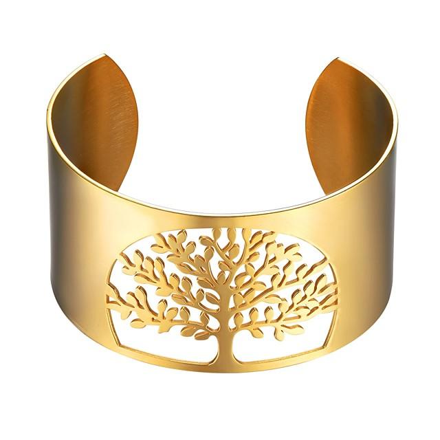 نسائي أساور صفد شجرة الحياة سيدات موضة الفولاذ المقاوم للصدأ مجوهرات سوار أسود / ذهبي / فضي من أجل هدية مناسب للبس اليومي
