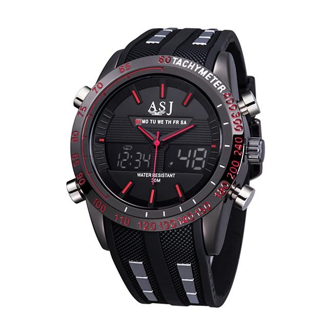 ASJ رجالي ساعة رياضية ساعة رقمية كوارتز كاجوال مقاوم للماء تناظري-رقمي أحمر أزرق / سيليكون / ياباني / رزنامه / الكرونوغراف / قضية