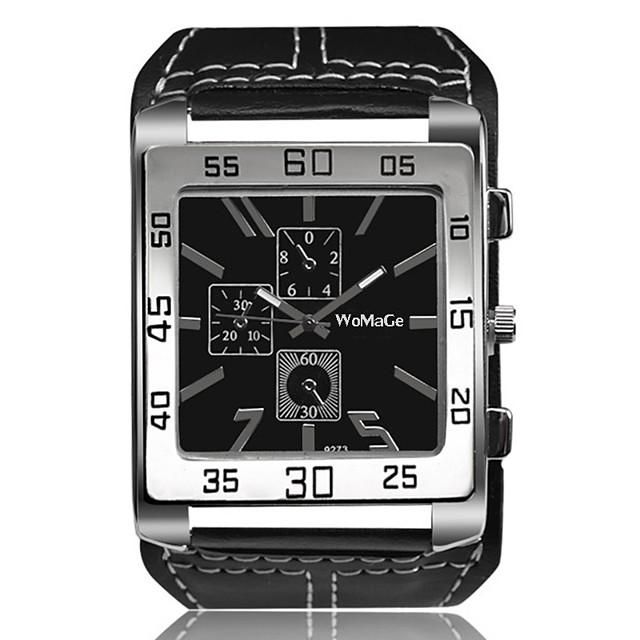 Homens Relógio de Pulso Quartzo Oversized Vintage Criativo Analógico Branco Preto Marron / Um ano / Couro / Mostrador Grande
