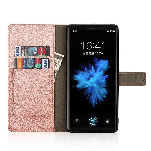 Pouzdro Uyumluluk Samsung Galaxy Note 9 / Note 8 Cüzdan / Kart Tutucu / Taşlı Tam Kaplama Kılıf Işıltılı Parlak / Yapay Elmas / Çiçek Sert PU Deri