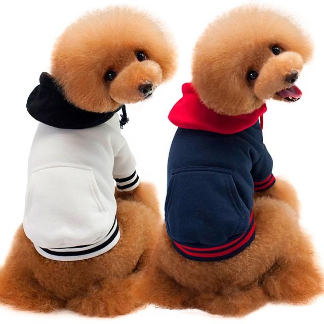 كلاب قطط البلوزات كنزة ملابس الجرو لون سادة أسلوب بسيط عارضة / رياضي الشتاء ملابس الكلاب ملابس الجرو ملابس الكلب أبيض أزرق داكن رمادي كوستيوم للفتاة والفتى الكلب قطن S M L XL XXL
