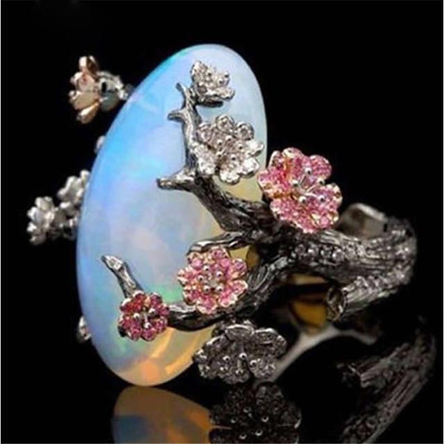 Bague Fantaisie Grosse Opale synthétique Rétro Noir Cuivre Pierre Fleur dames Asiatique Elégant 1pc 5 6 7 8 9 / Femme