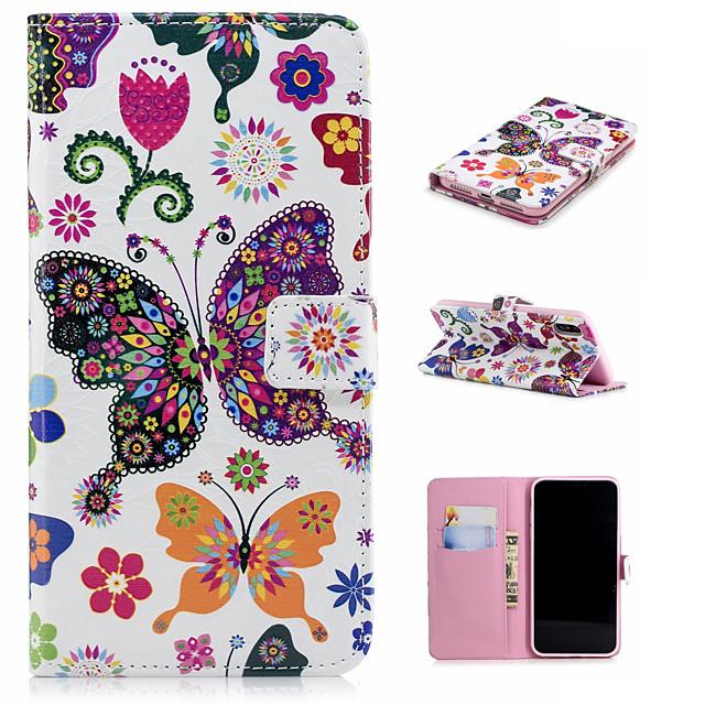 Kılıf Na Jabłko iPhone XS / iPhone XR / iPhone XS Max Portfel / Etui na karty / Z podpórką Pełne etui Motyl Twardość Skóra PU