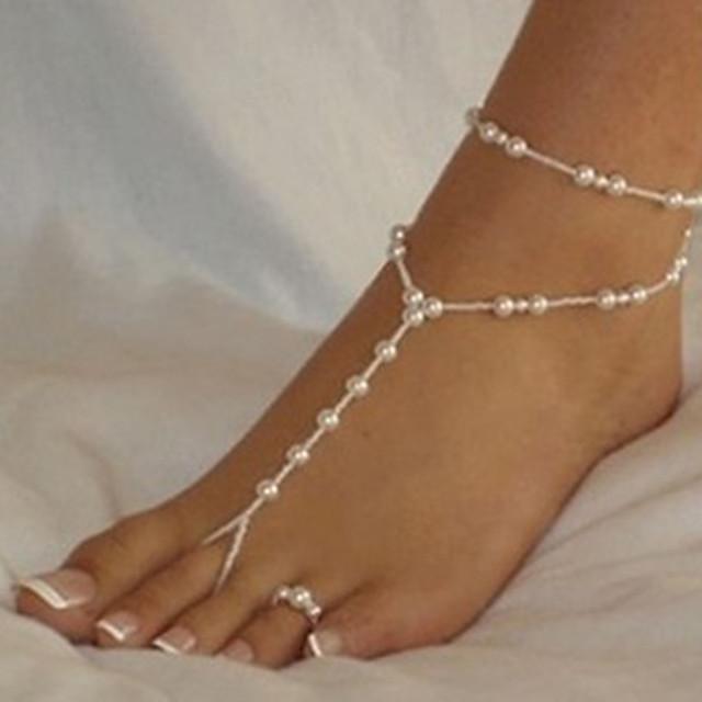 Femme Sandales Pieds Nus Perles Romantique Imitation de perle Bracelet de cheville Bijoux Blanche Pour Plein Air Sortie