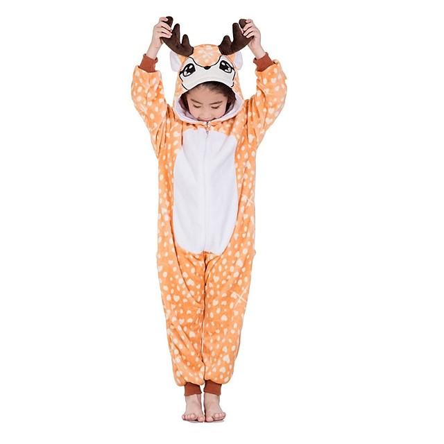 Enfant Pyjamas Kigurumi Renne Combinaison de Pyjamas Flanelle Orange Cosplay Pour Garçons et filles Pyjamas Animale Dessin animé Fête / Célébration Les costumes