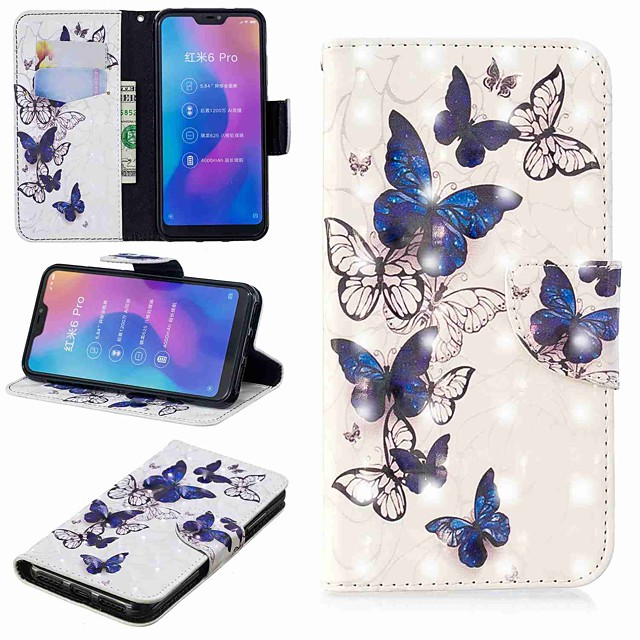 Case For Xiaomi Xiaomi Redmi Note 5A / Xiaomi Redmi Note 5 Pro / Xiaomi Redmi Note 6 Wallet / Card Holder / with Stand Full Body Cases Butterfly Hard PU Leather