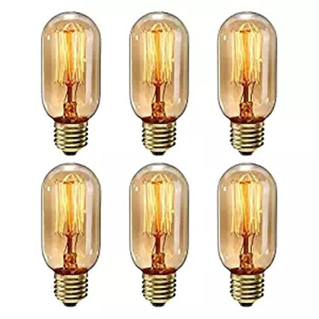 6 pcs regulável t45 40 w e27 cor branca quente decorativo retro incandescente vintage edison lâmpadas ac220-240v