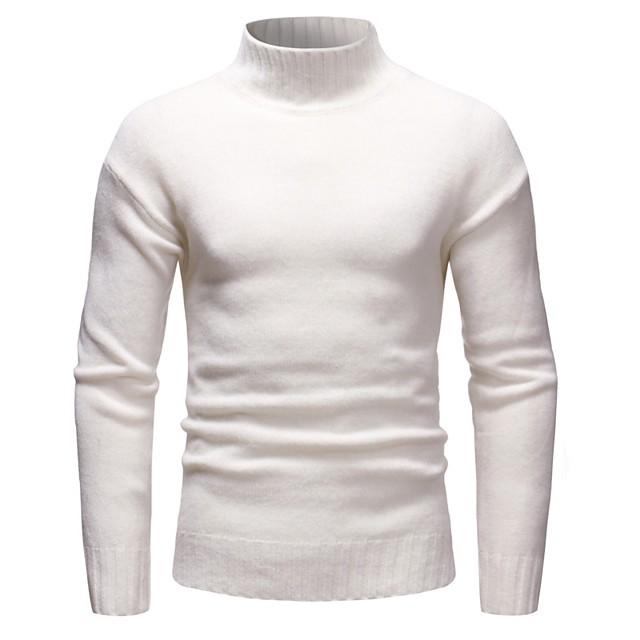 남성용 솔리드 풀오버 긴 소매 슬림 짧은 스웨터 가디건 터틀넥 화이트 블랙 블러슁 핑크