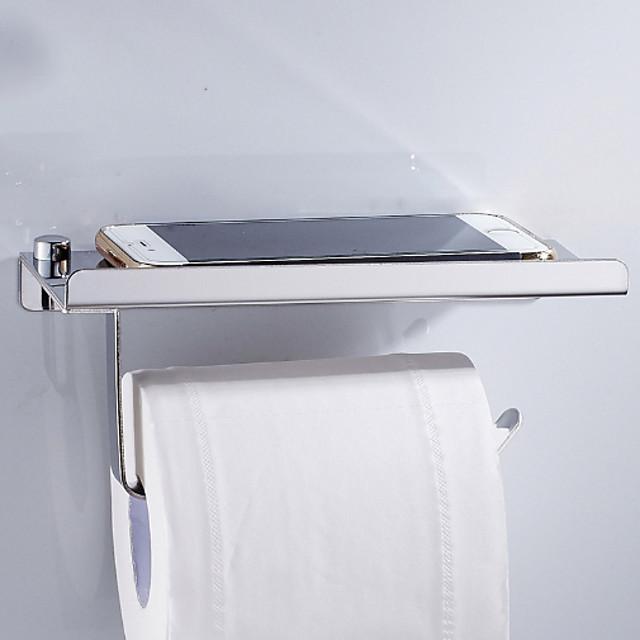 porte-papier toilette nouveau design porte-papier rouleau de salle de bain en acier inoxydable avec rangement pour téléphone portable mural argenté 1 pc