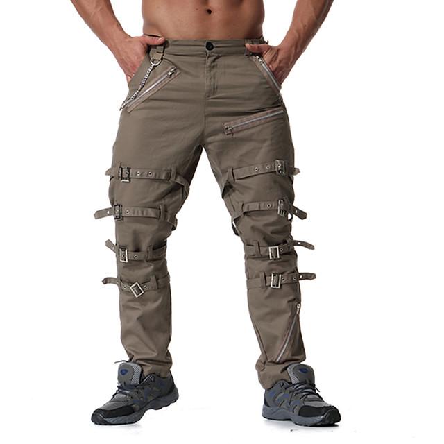 Hombre Chic De Calle Punk Gotico Noche Chinos Pantalones Tipo Cargo Bermudas Pantalones Un Color Longitud Total Retazos Negro Caqui Gris Oscuro Otono Invierno 6947145 2020 49 99