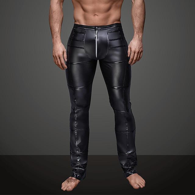 Herr Dagligen Nattklubb Sportig Grundläggande Leggings Enfärgad Ren färg Medium Midja Svart S M L / Läderimitation / Punk & Gotiskt
