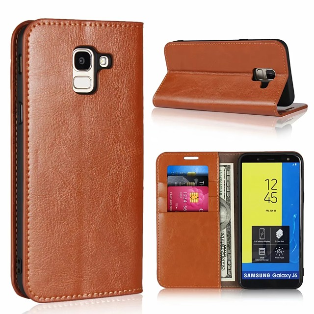 Case For Samsung Galaxy J7 (2017) / J6 (2018) / J5 (2017) Card Holder / with Stand Full Body Cases Solid Colored Hard Genuine Leather