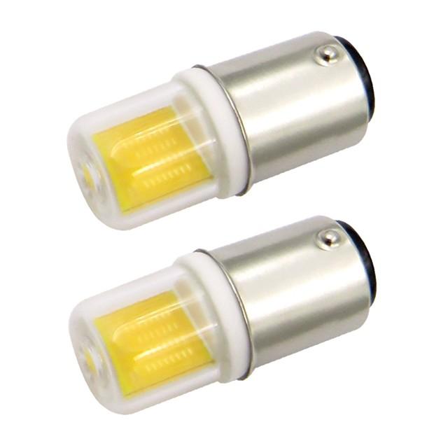 2.5w ba15d mini led ampoule verre couverture 1511 cob ac 220v / ac 120v blanc froid / chaud double baïonnette machine à coudre (2 pcs)