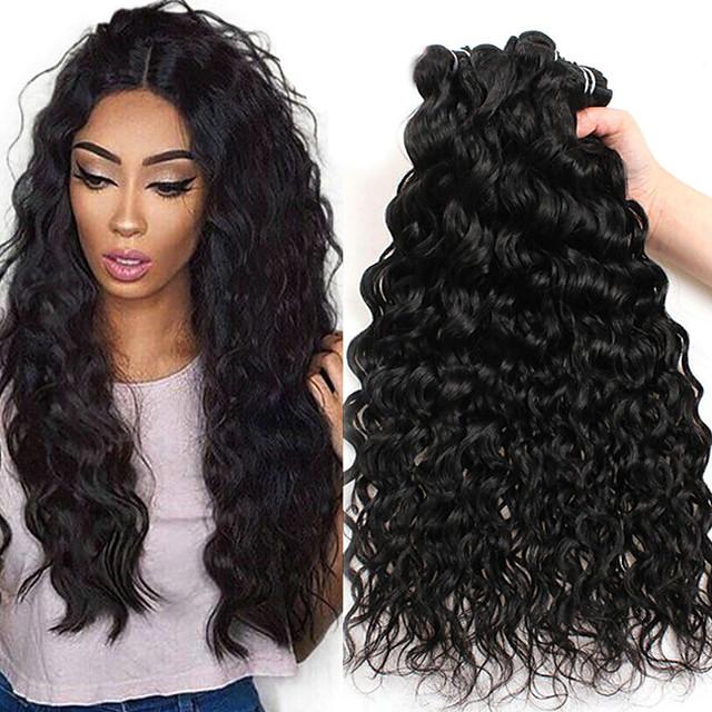 Lot de 3 Tissage de cheveux Cheveux Péruviens Ondulation Extensions de cheveux Naturel humains Cheveux Naturel Rémy Paquets de 100% Remy Hair Weave 300 g Tissages de cheveux humains Extensions