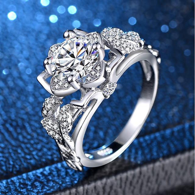 Bague / Anneaux Zircon cubique Argent Cuivre Platiné Imitation Diamant Pétale Flower Shape dames unique Elégant 1pc 6 7 8 9 10 / Femme