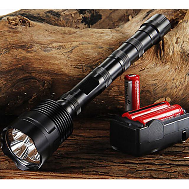 Trustfire Lanterne LED 3800/3000 lm LED LED 3 emițători 5 Mod Zbor cu Baterii și Încărcătoare Focalizare Ajustabilă Mâner antialunecare Camping / Cățărare / Speologie Utilizare Zilnică Ciclism Negru