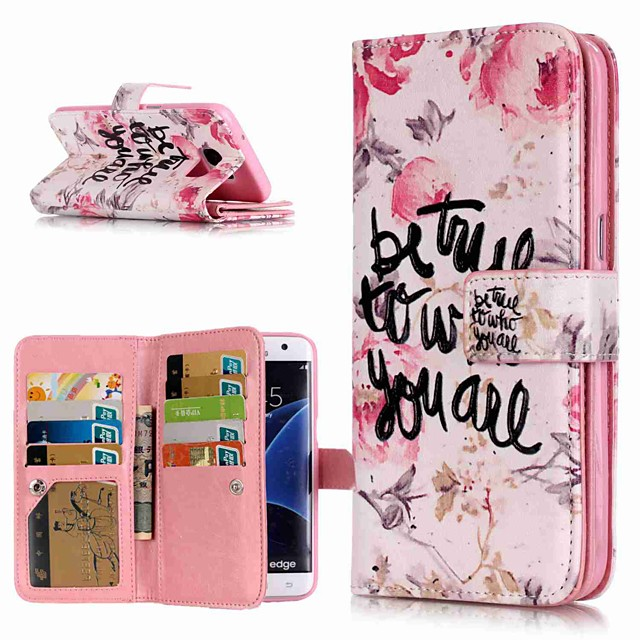 Кейс для Назначение SSamsung Galaxy S9 / S9 Plus / S8 Plus Кошелек / Бумажник для карт / со стендом Чехол Слова / выражения Твердый Кожа PU