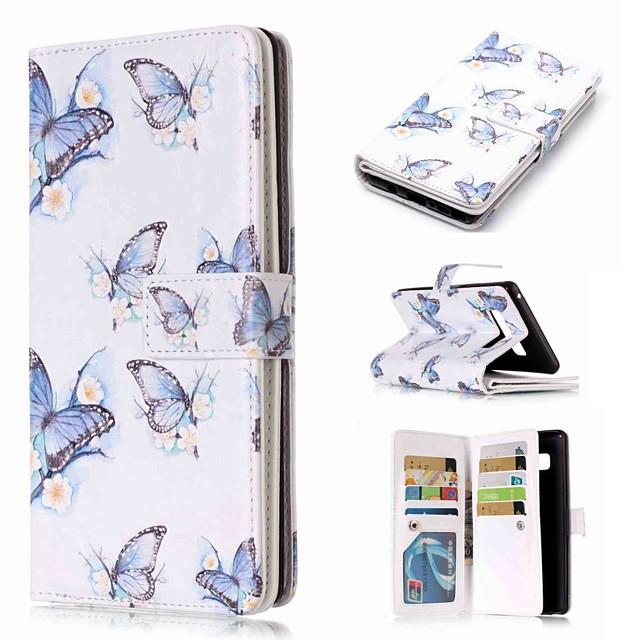Кейс для Назначение SSamsung Galaxy Note 9 / Note 8 / Note 5 Кошелек / Бумажник для карт / со стендом Чехол Бабочка Твердый Кожа PU