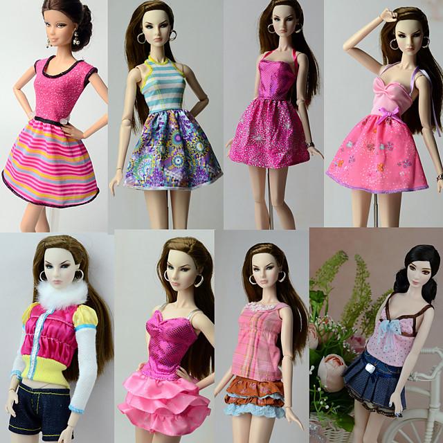 Casul / Zilnic Costume 8 pcs Pentru Barbiedoll Poliester Fuste / Vârf / Rochie Pentru Fata lui păpușă de jucărie
