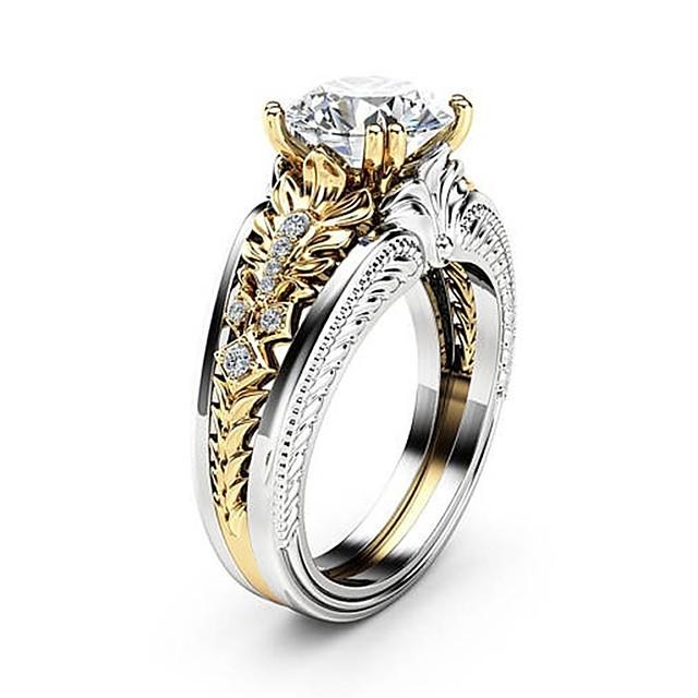 Bague / Anneaux Diamant Deux tons Argent Cuivre Platiné Imitation Diamant Fleur dames unique Elégant 1pc 6 7 8 9 10 / Femme / Zircon
