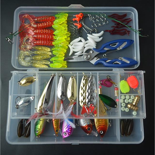 111 pcs Kit de Pêche Cuillères Manivelle Crayons Popper Leurre de vibration Vers Facile à transporter Facile à Utiliser Affaissé Bass Truite Brochet Hameçon Texan Tête Plombée Pêche en mer Pêche à la