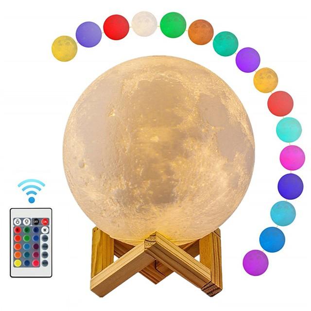 lampe de lune led 3d lumière de lune d'impression avec télécommande rechargeable couleur changeante lampes de lumière de lune pour les enfants amoureux cadeaux d'anniversaire 12 cm / 4.72 pouces