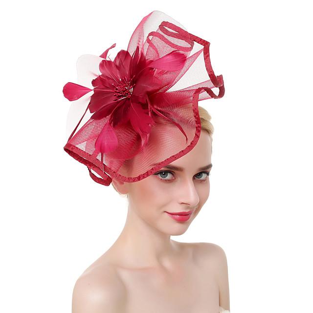 Tulle / Plumes Kentucky Derby Hat / Fascinators / Coiffe avec Plume 1 Pièce Fête / Soirée / Business / Cérémonie / Mariage Casque