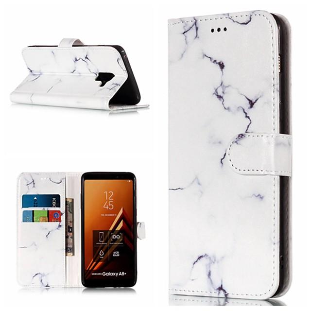 Maska Pentru Samsung Galaxy A3 (2017) / A5 (2017) / A8 2018 Portofel / Titluar Card / Cu Stand Carcasă Telefon Marmură Greu PU piele