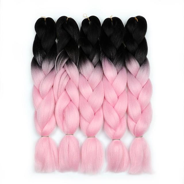 Crochet Hair Braids Jumbo Box Braids Rose Cheveux Synthétiques 24 pouce Rajouts de Tresses 5 Pièces