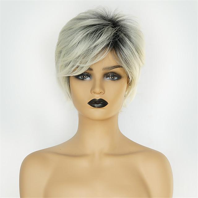 Perruque Synthétique Droite naturelle Coupe Lutin Perruque Court Gris noir Cheveux Synthétiques 8 pouce Femme Design Tendance Nouvelle arrivee Cheveux Colorés Gris / Ligne de Cheveux Naturelle