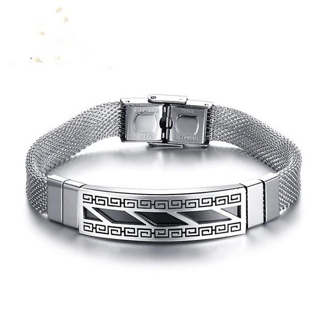 Bracelet Homme Classique Argent Acier Inoxydable Mode Bracelet Bijoux Argent Forme de Cercle pour Quotidien Anniversaire