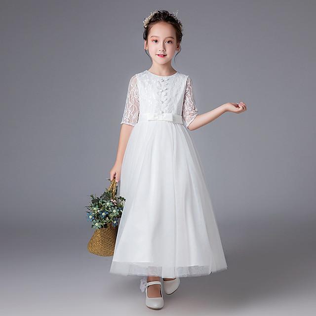 Princesse Longueur Cheville Mariage / Communion Robes de demoiselle d'honneur - Polyester Demi Manches Bijoux avec Dentelle