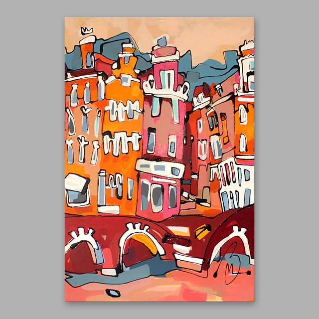 Peinture à l'huile Hang-peint Peint à la main Format Vertical Abstrait Moderne Inclure cadre intérieur
