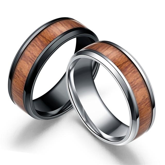 Band Ring Retro Negru Argintiu De lemn Teak Lemn Simplu 1 buc 8 9 10 11 / Bărbați / Lemn natural
